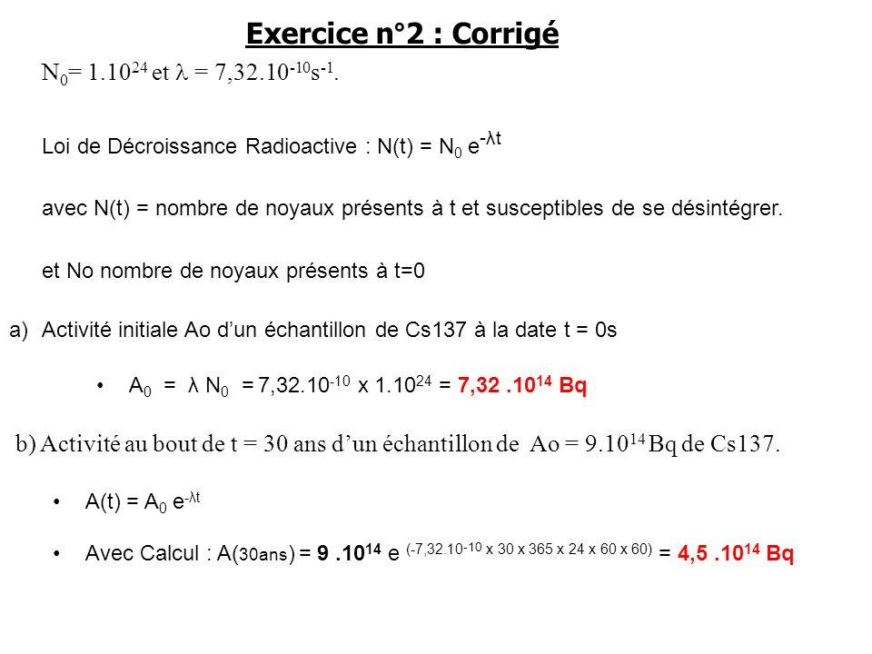 Exercice n°2 : Corrigé N0= 1.1024 et l = 7,32.10-10s-1.