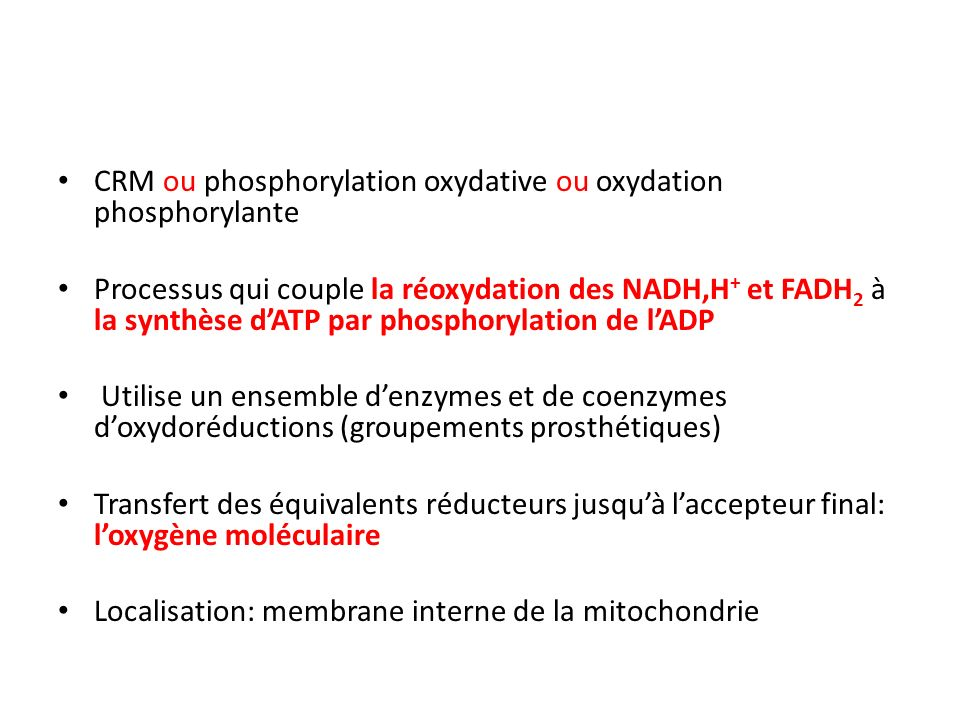 CRM ou phosphorylation oxydative ou oxydation phosphorylante