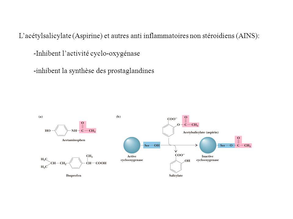 L'acétylsalicylate (Aspirine) et autres anti inflammatoires non stéroidiens (AINS):