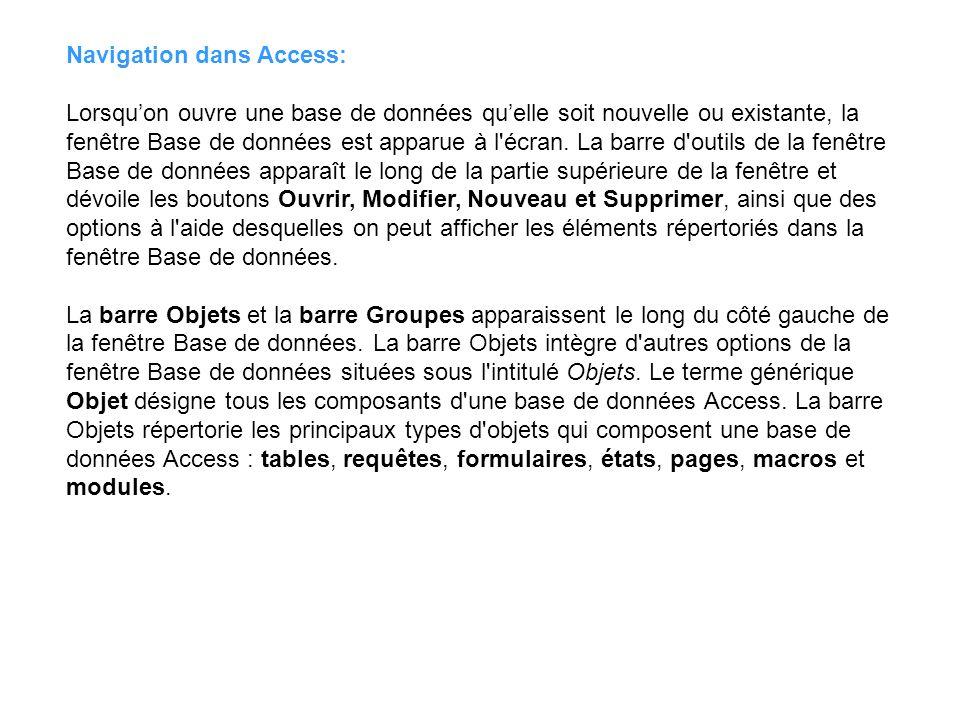Navigation dans Access:
