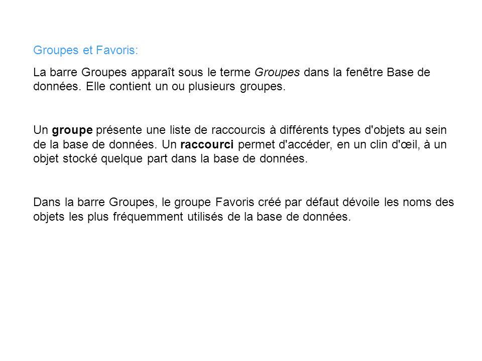 Groupes et Favoris: La barre Groupes apparaît sous le terme Groupes dans la fenêtre Base de données. Elle contient un ou plusieurs groupes.