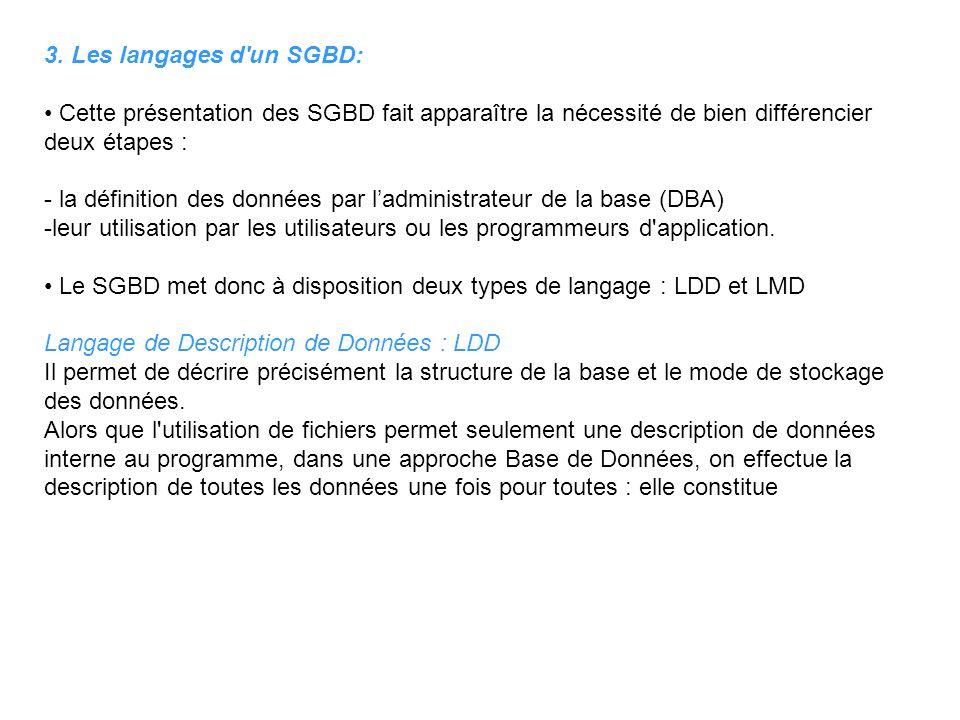 3. Les langages d un SGBD: • Cette présentation des SGBD fait apparaître la nécessité de bien différencier deux étapes :