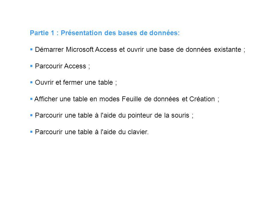 Partie 1 : Présentation des bases de données: