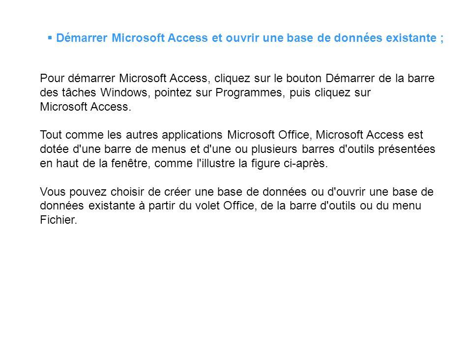 Démarrer Microsoft Access et ouvrir une base de données existante ;