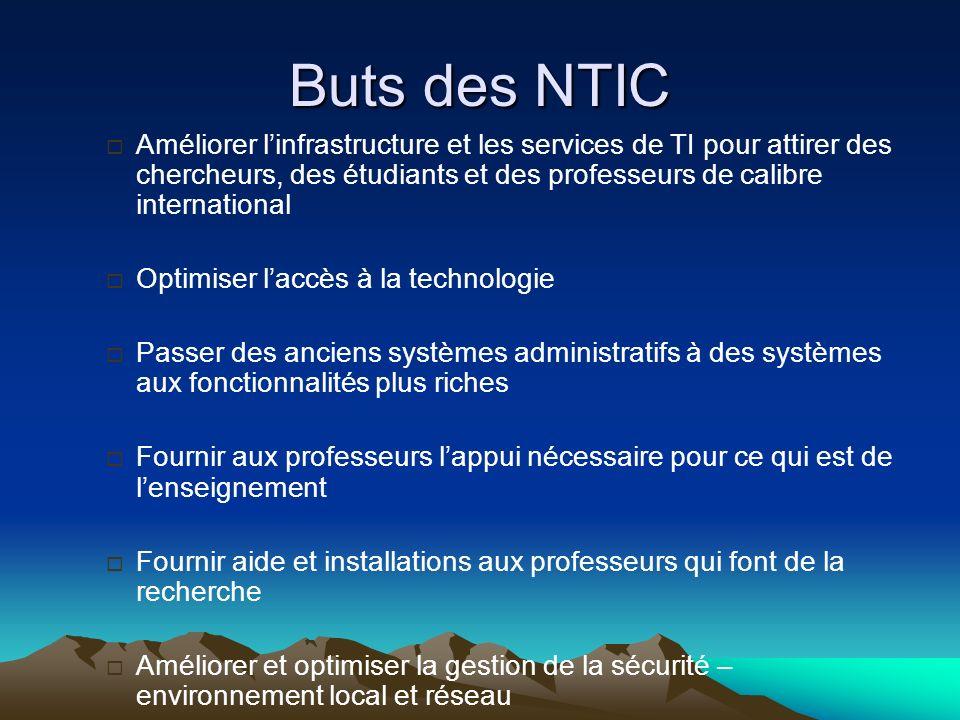 Buts des NTIC Améliorer l'infrastructure et les services de TI pour attirer des chercheurs, des étudiants et des professeurs de calibre international.