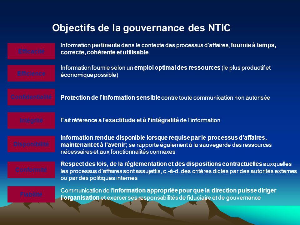 Objectifs de la gouvernance des NTIC