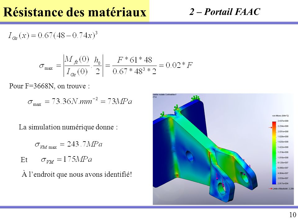 2 – Portail FAAC Pour F=3668N, on trouve :