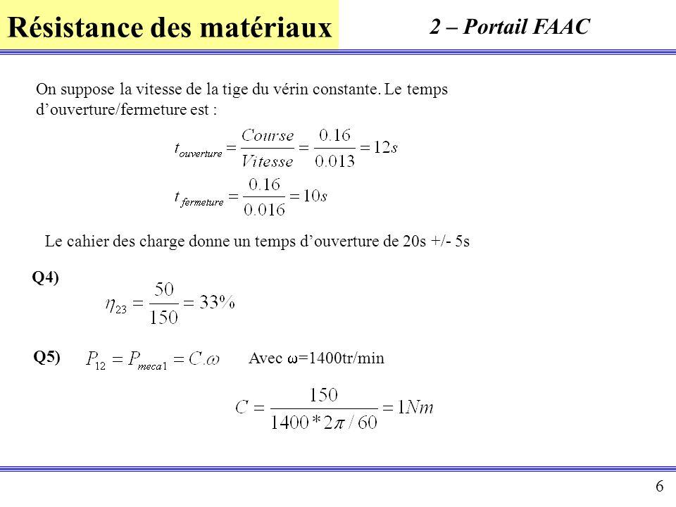 2 – Portail FAAC On suppose la vitesse de la tige du vérin constante. Le temps d'ouverture/fermeture est :
