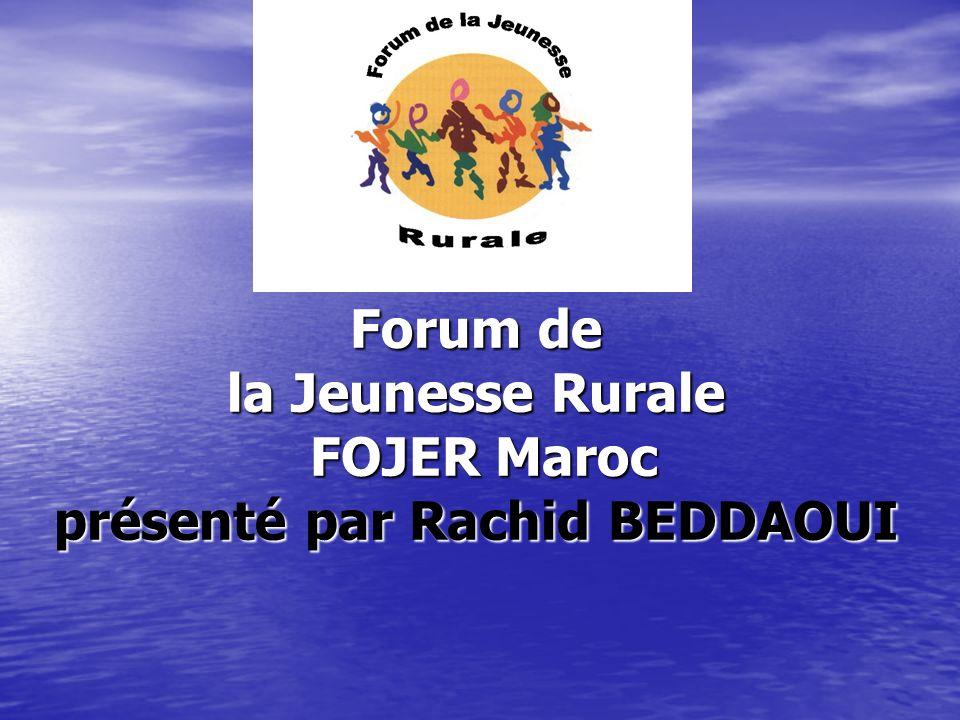 Forum de la Jeunesse Rurale FOJER Maroc présenté par Rachid BEDDAOUI