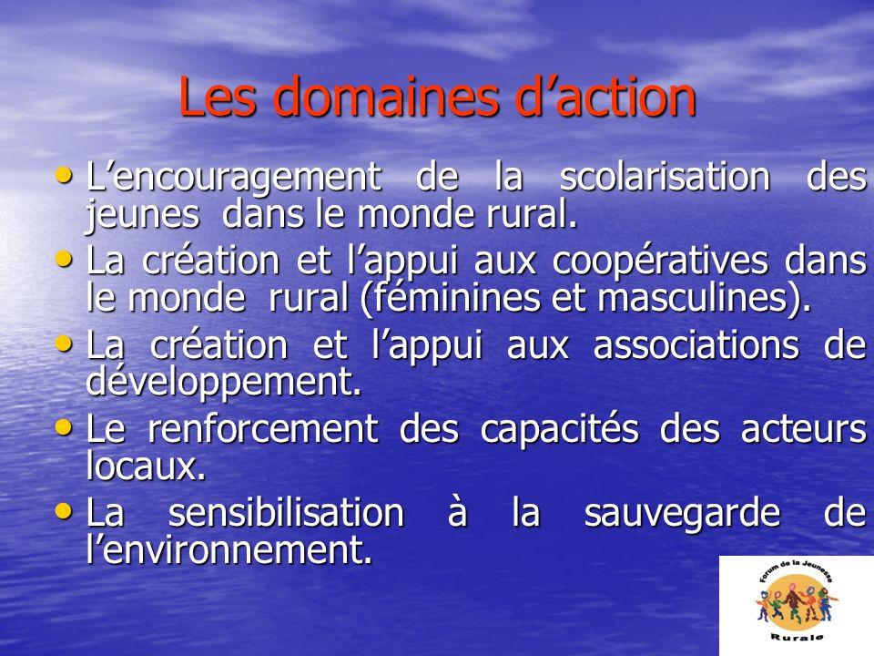 Les domaines d'actionL'encouragement de la scolarisation des jeunes dans le monde rural.