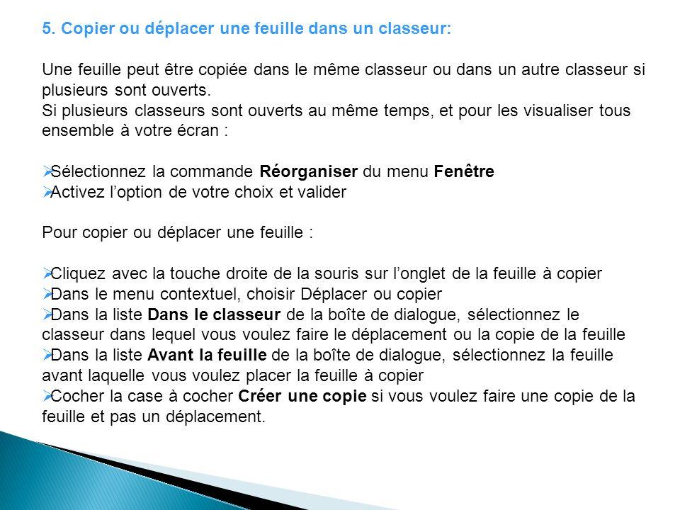5. Copier ou déplacer une feuille dans un classeur: