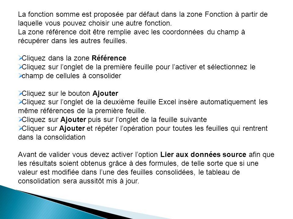 La fonction somme est proposée par défaut dans la zone Fonction à partir de