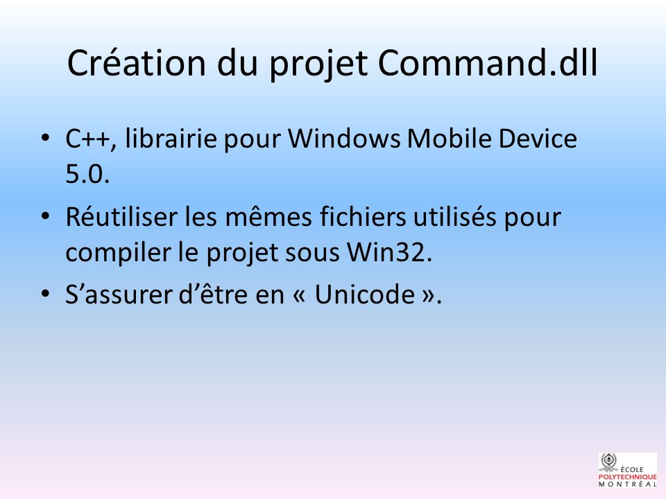 Création du projet Command.dll