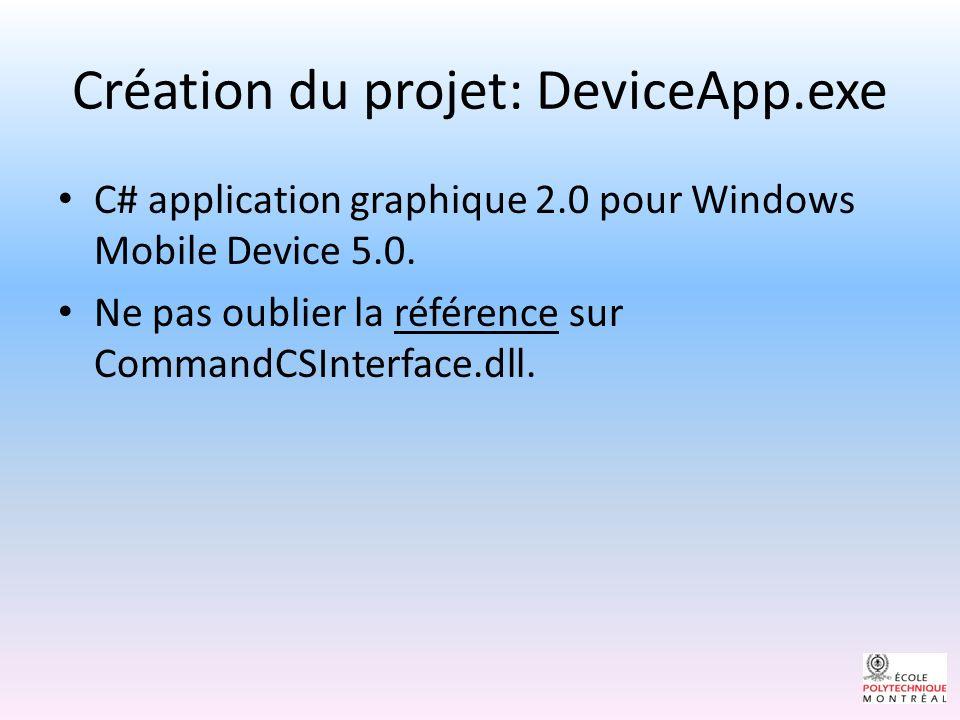 Création du projet: DeviceApp.exe