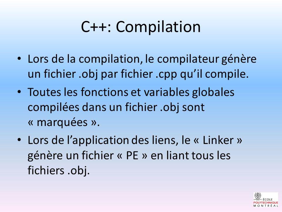 C++: Compilation Lors de la compilation, le compilateur génère un fichier .obj par fichier .cpp qu'il compile.
