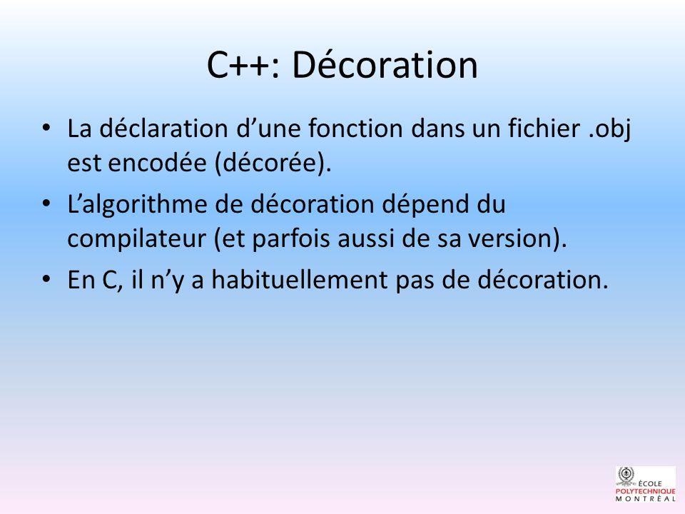 C++: Décoration La déclaration d'une fonction dans un fichier .obj est encodée (décorée).