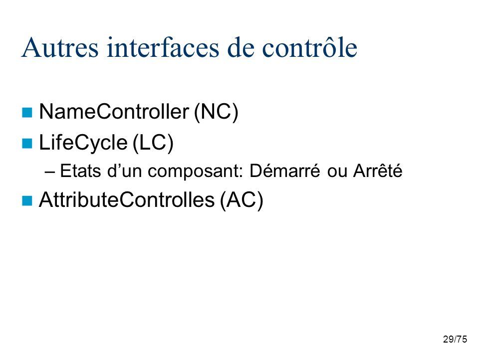 Autres interfaces de contrôle