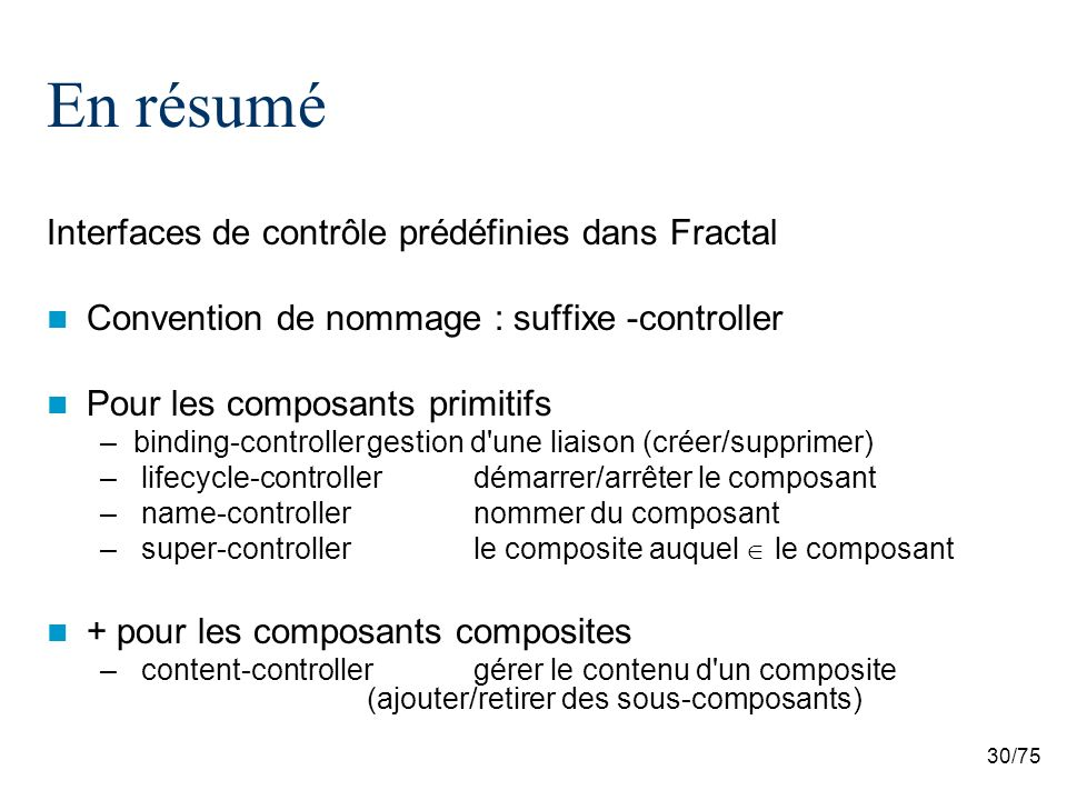 En résumé Interfaces de contrôle prédéfinies dans Fractal
