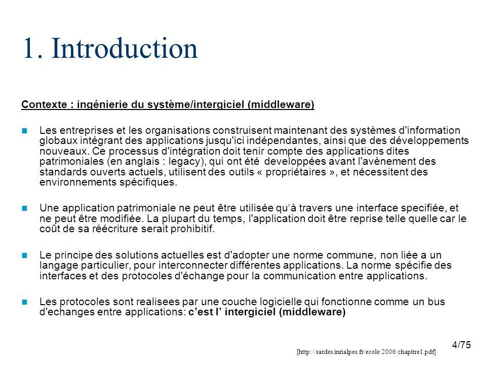 1. Introduction Contexte : ingénierie du système/intergiciel (middleware)