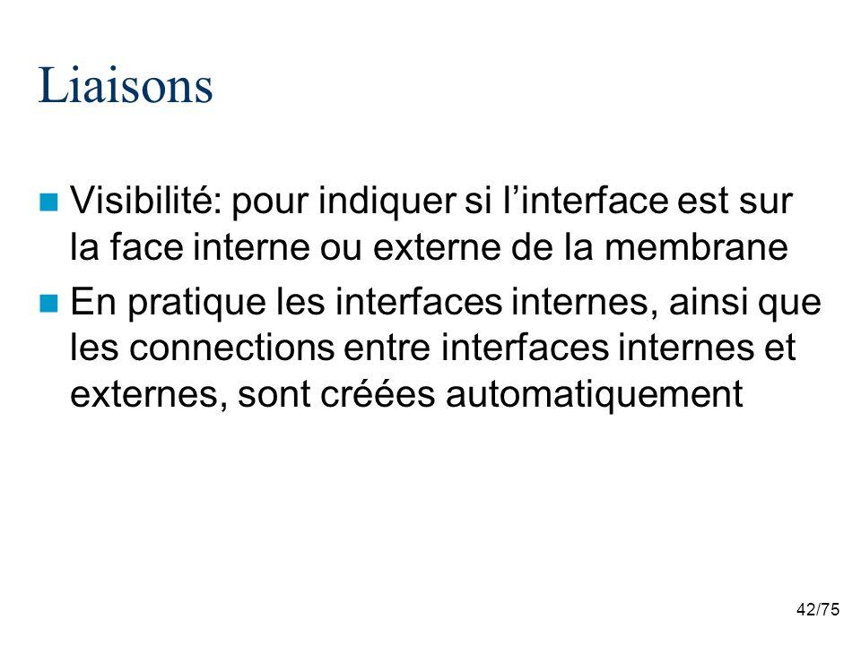 Liaisons Visibilité: pour indiquer si l'interface est sur la face interne ou externe de la membrane.