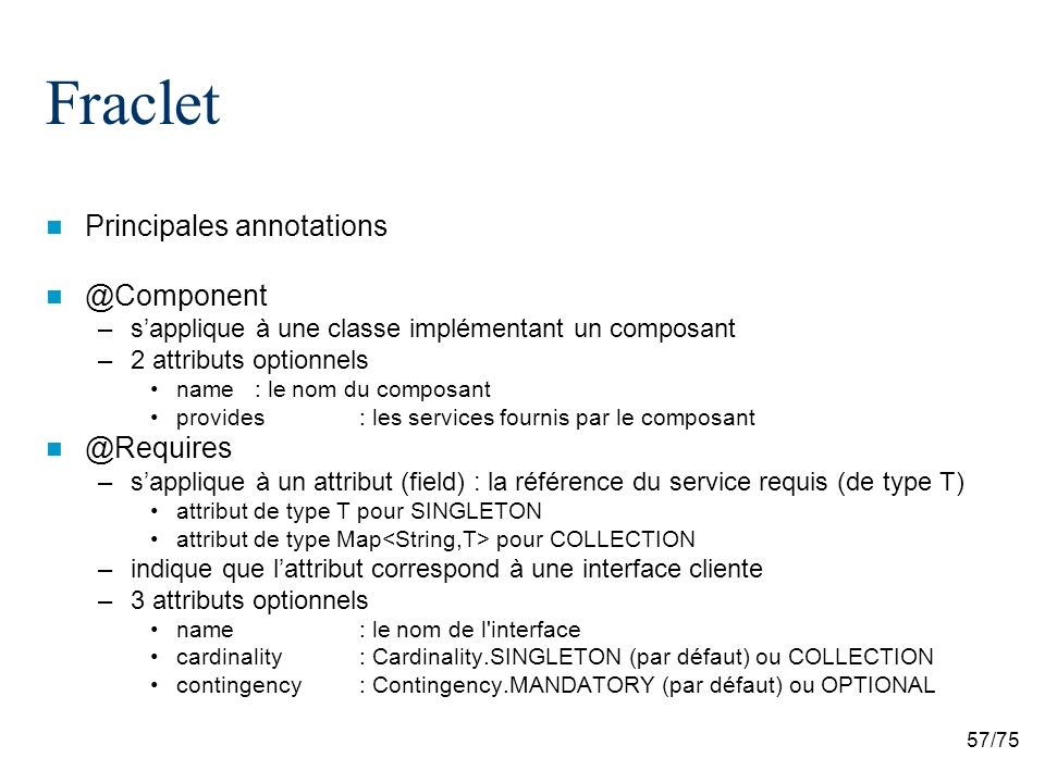 Fraclet Principales annotations @Component @Requires