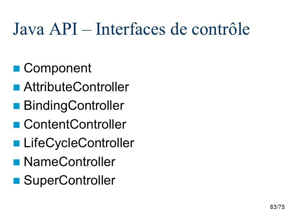 Java API – Interfaces de contrôle
