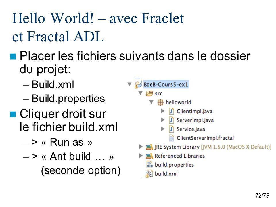 Hello World! – avec Fraclet et Fractal ADL
