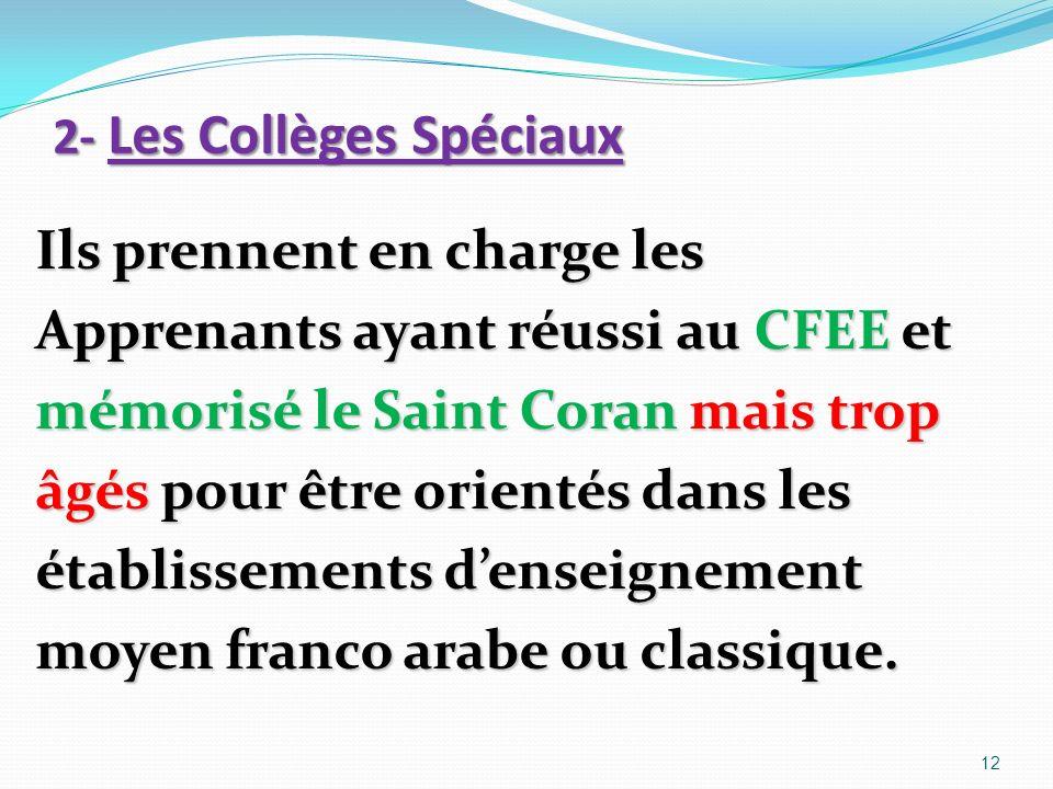 2- Les Collèges Spéciaux