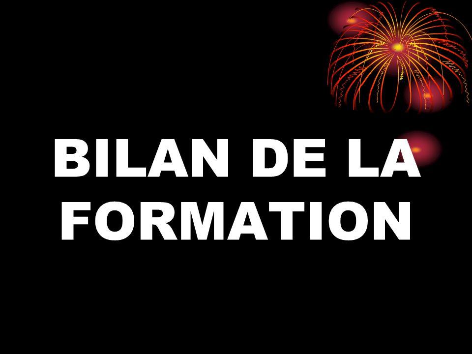 BILAN DE LA FORMATION