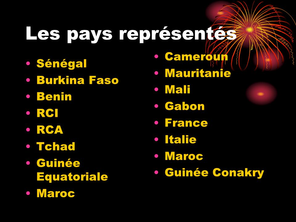 Les pays représentés Cameroun Mauritanie Mali Gabon France Italie