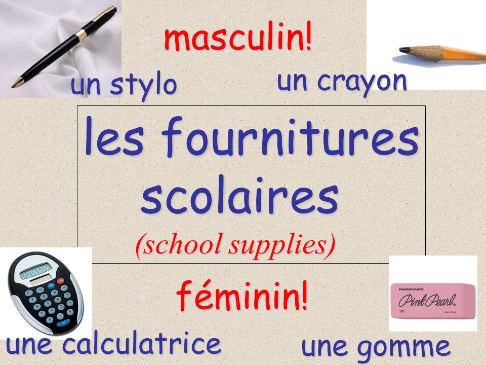 les fournitures scolaires masculin! féminin! un crayon un stylo