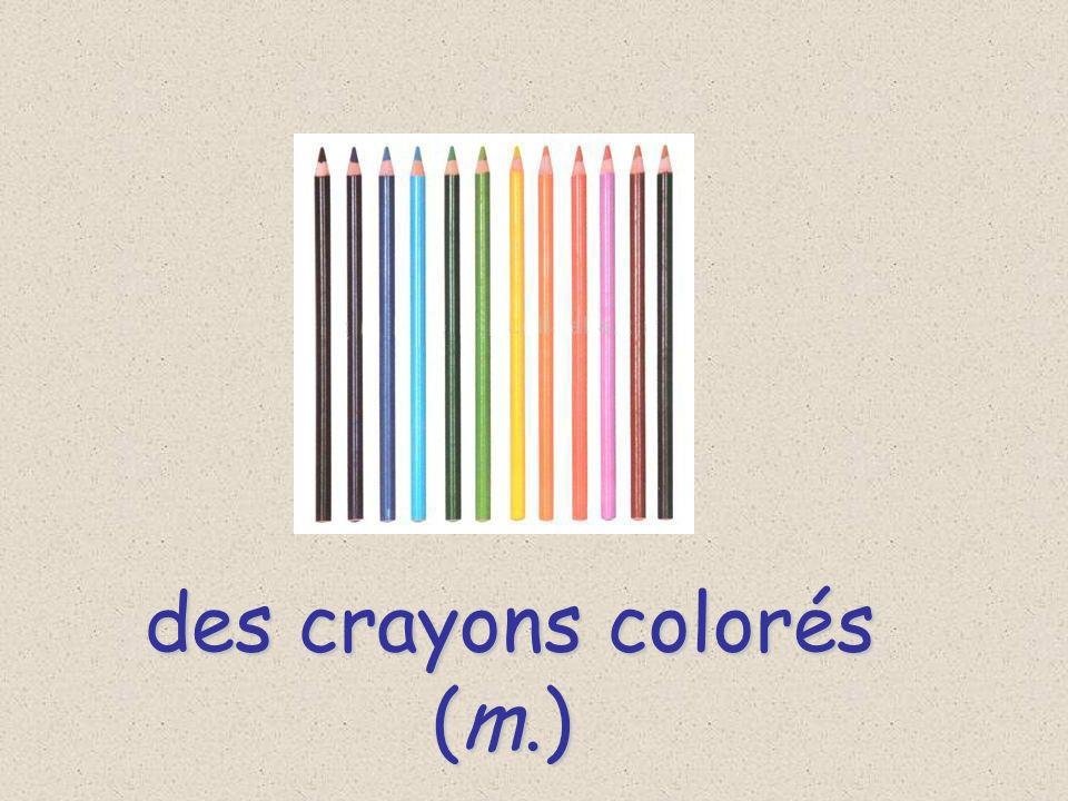 des crayons colorés (m.)