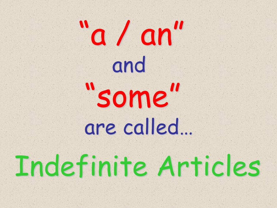 a / an and some are called… Indefinite Articles