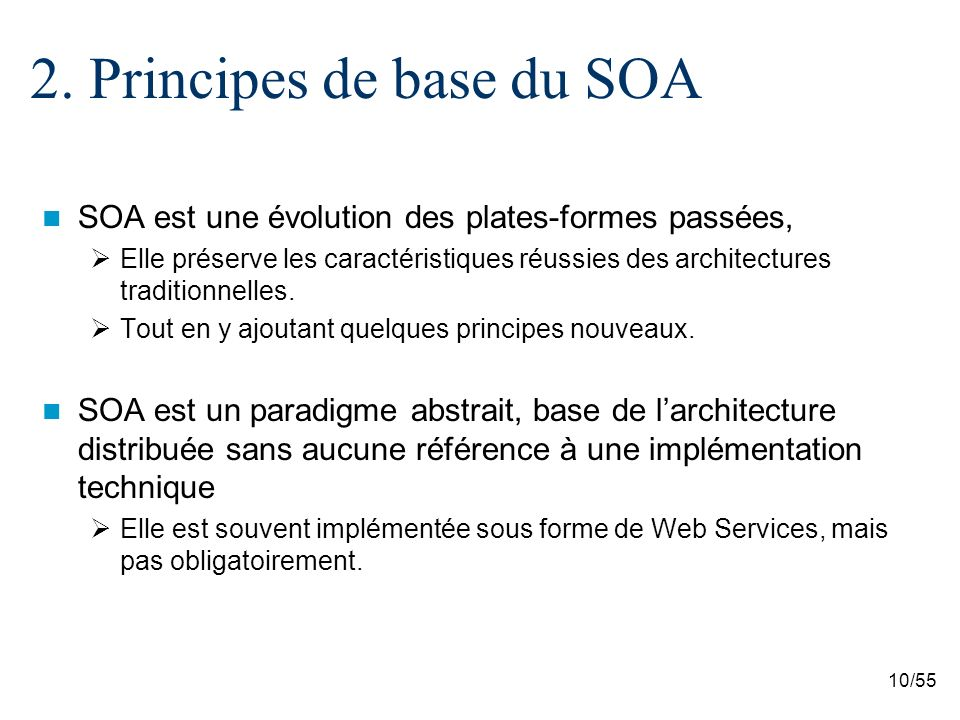 2. Principes de base du SOA