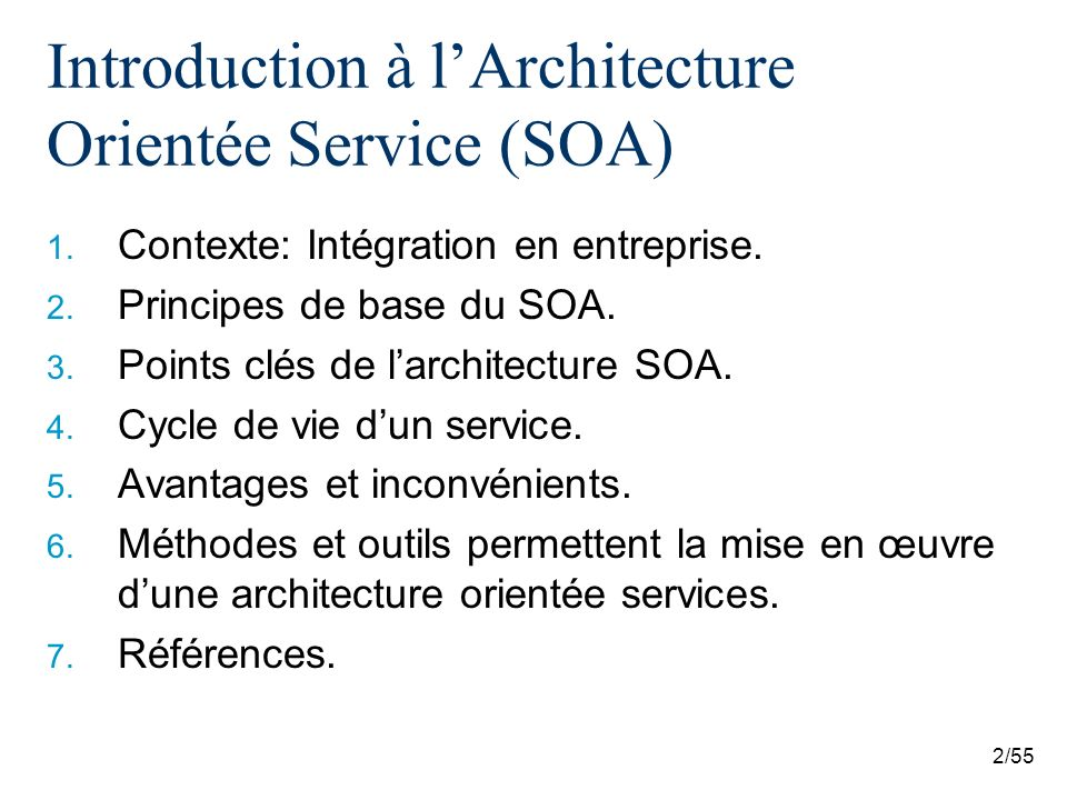Introduction à l'Architecture Orientée Service (SOA)