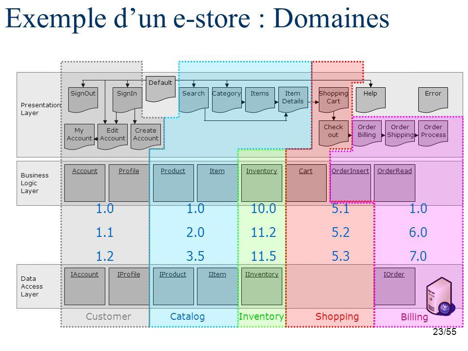 Exemple d'un e-store : Domaines