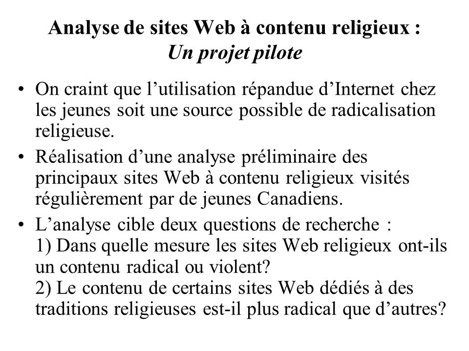 Analyse de sites Web à contenu religieux : Un projet pilote