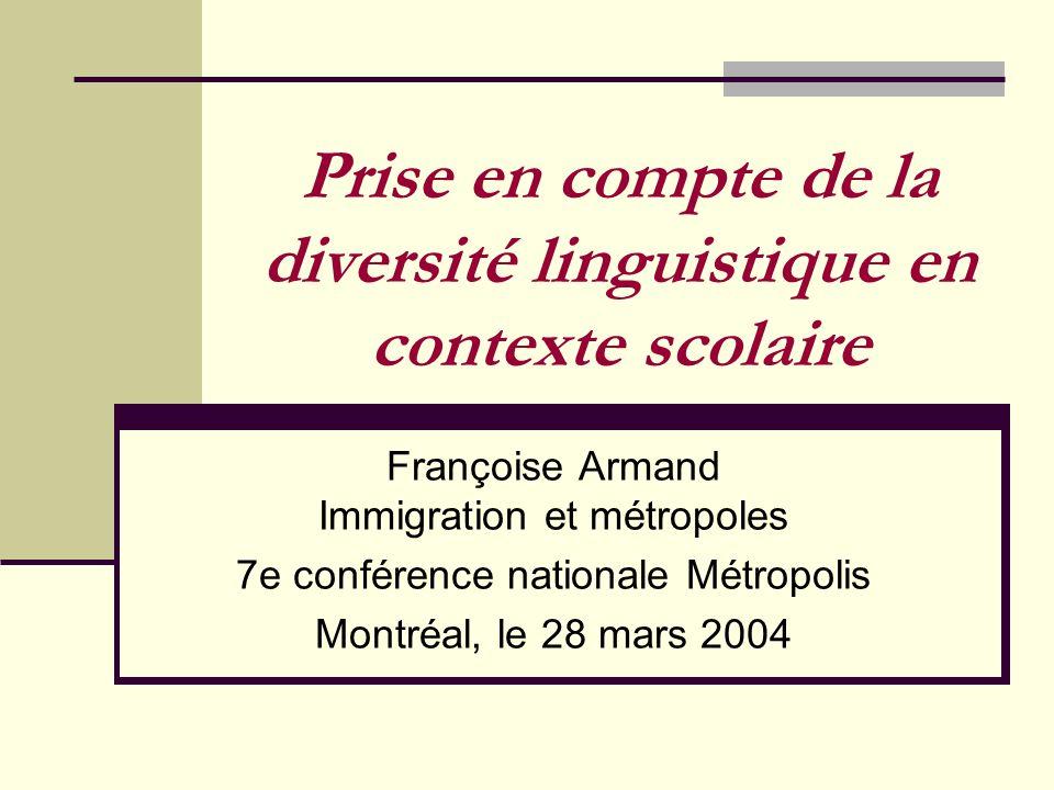 Prise en compte de la diversité linguistique en contexte scolaire