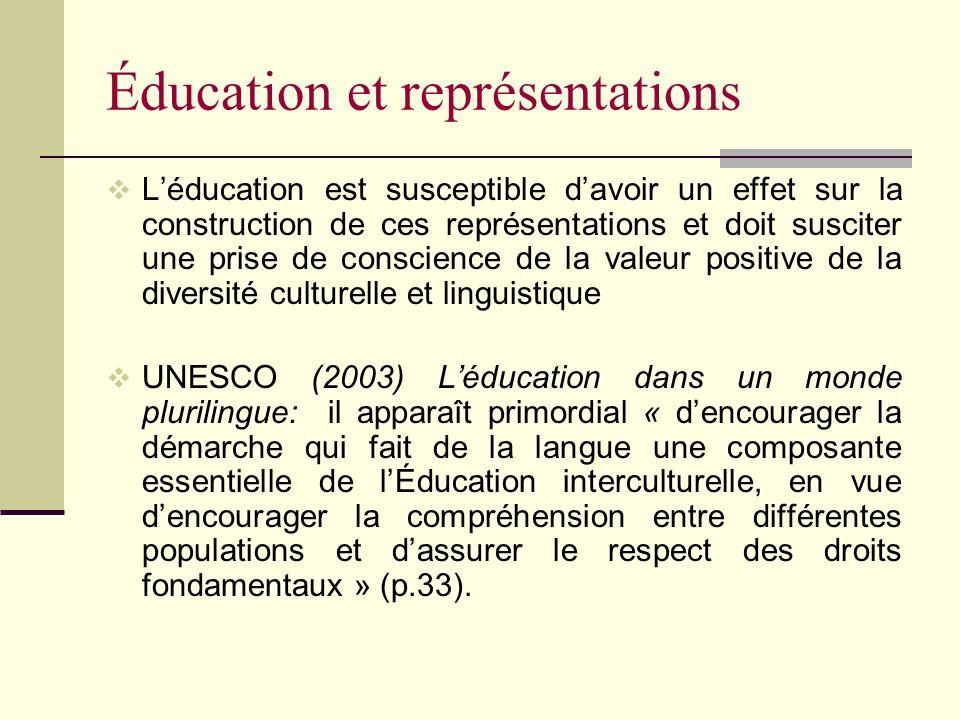 Éducation et représentations