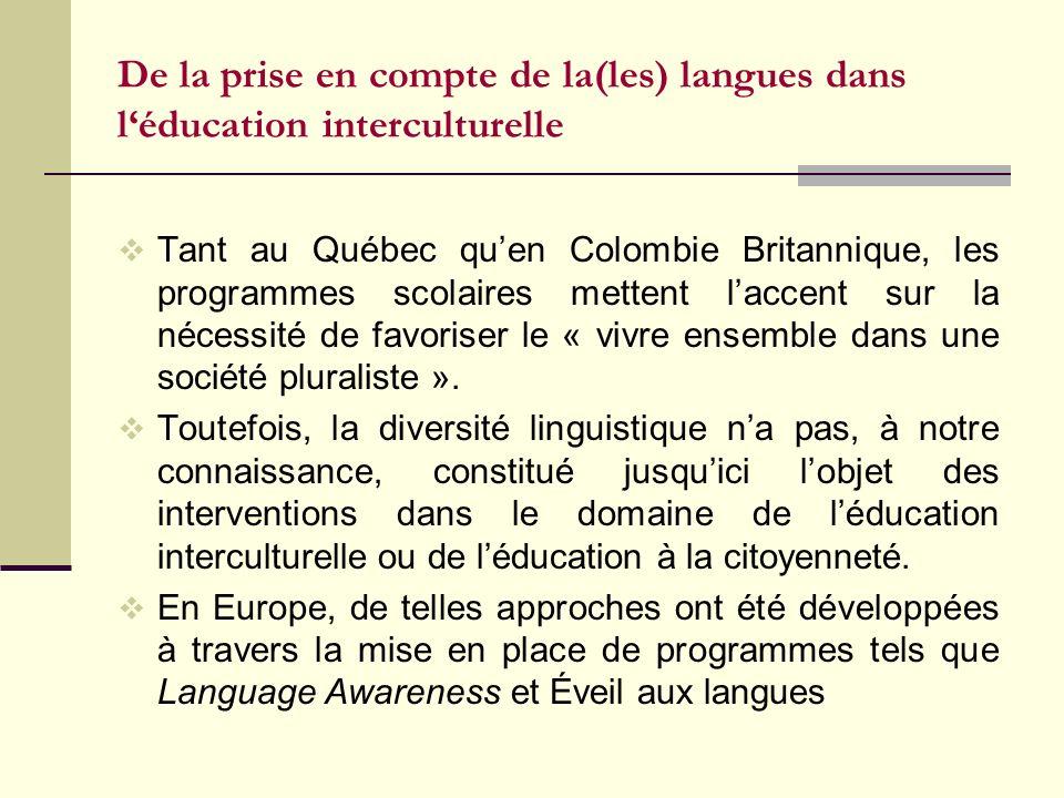 De la prise en compte de la(les) langues dans l'éducation interculturelle