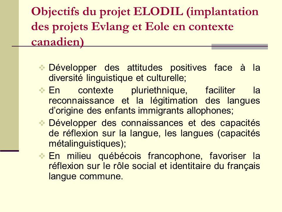 Objectifs du projet ELODIL (implantation des projets Evlang et Eole en contexte canadien)
