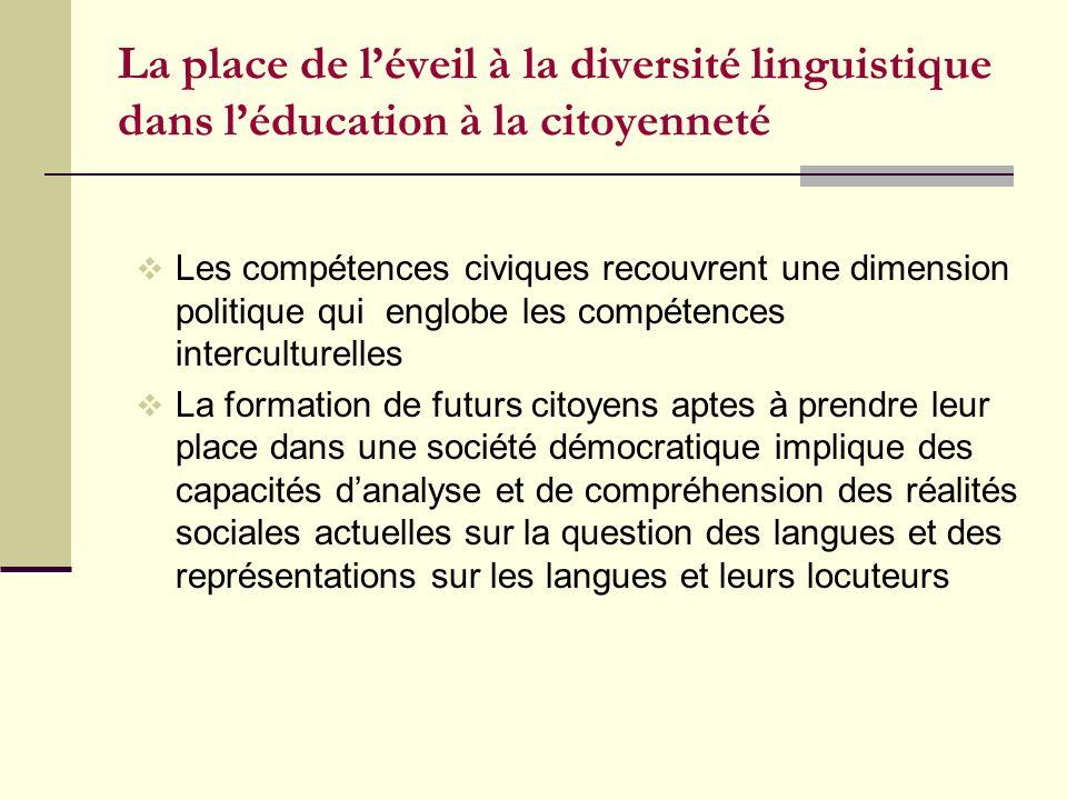 La place de l'éveil à la diversité linguistique dans l'éducation à la citoyenneté