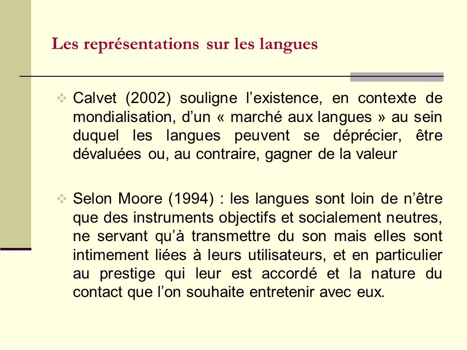 Les représentations sur les langues