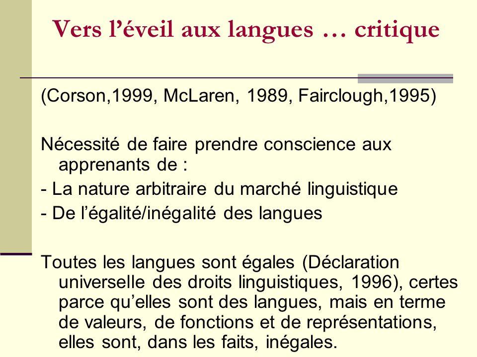 Vers l'éveil aux langues … critique