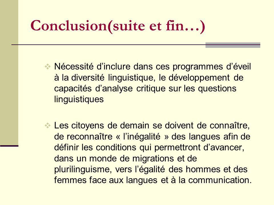 Conclusion(suite et fin…)