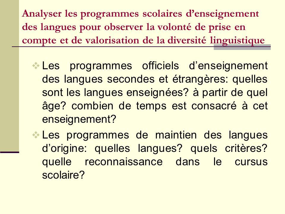 Analyser les programmes scolaires d'enseignement des langues pour observer la volonté de prise en compte et de valorisation de la diversité linguistique