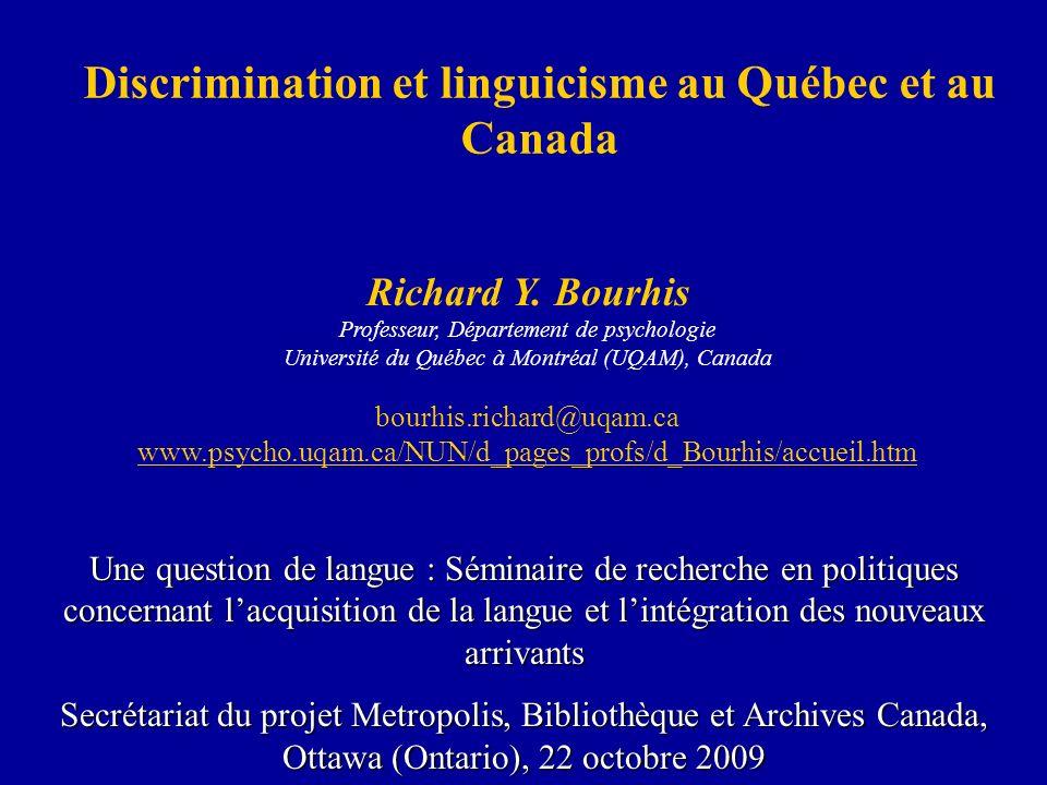 Discrimination et linguicisme au Québec et au Canada