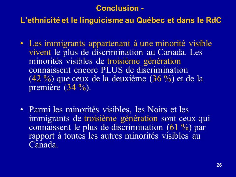 Conclusion - L'ethnicité et le linguicisme au Québec et dans le RdC