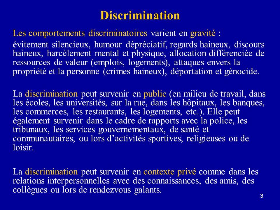 Discrimination Les comportements discriminatoires varient en gravité :