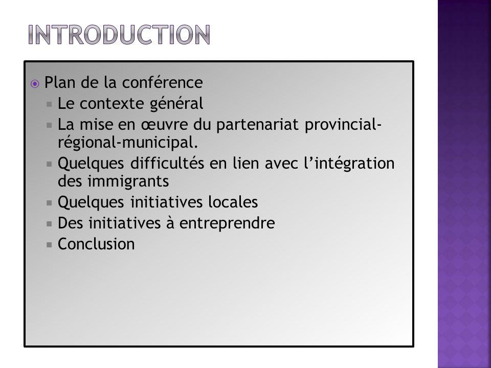 Introduction Plan de la conférence Le contexte général